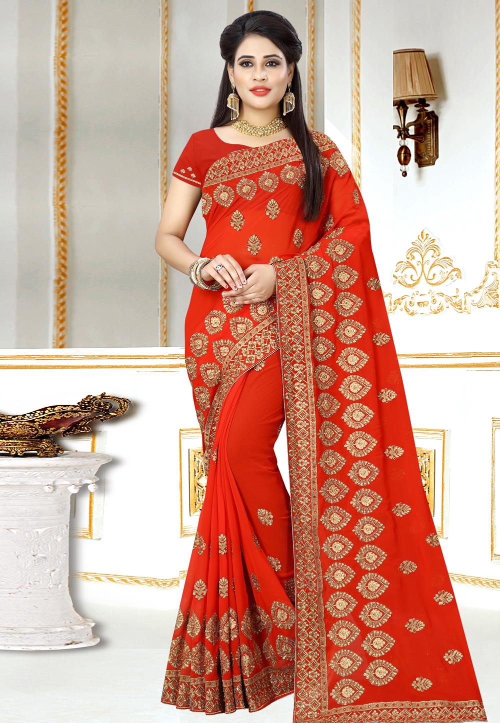Orange Georgette Saree With Blouse 156973