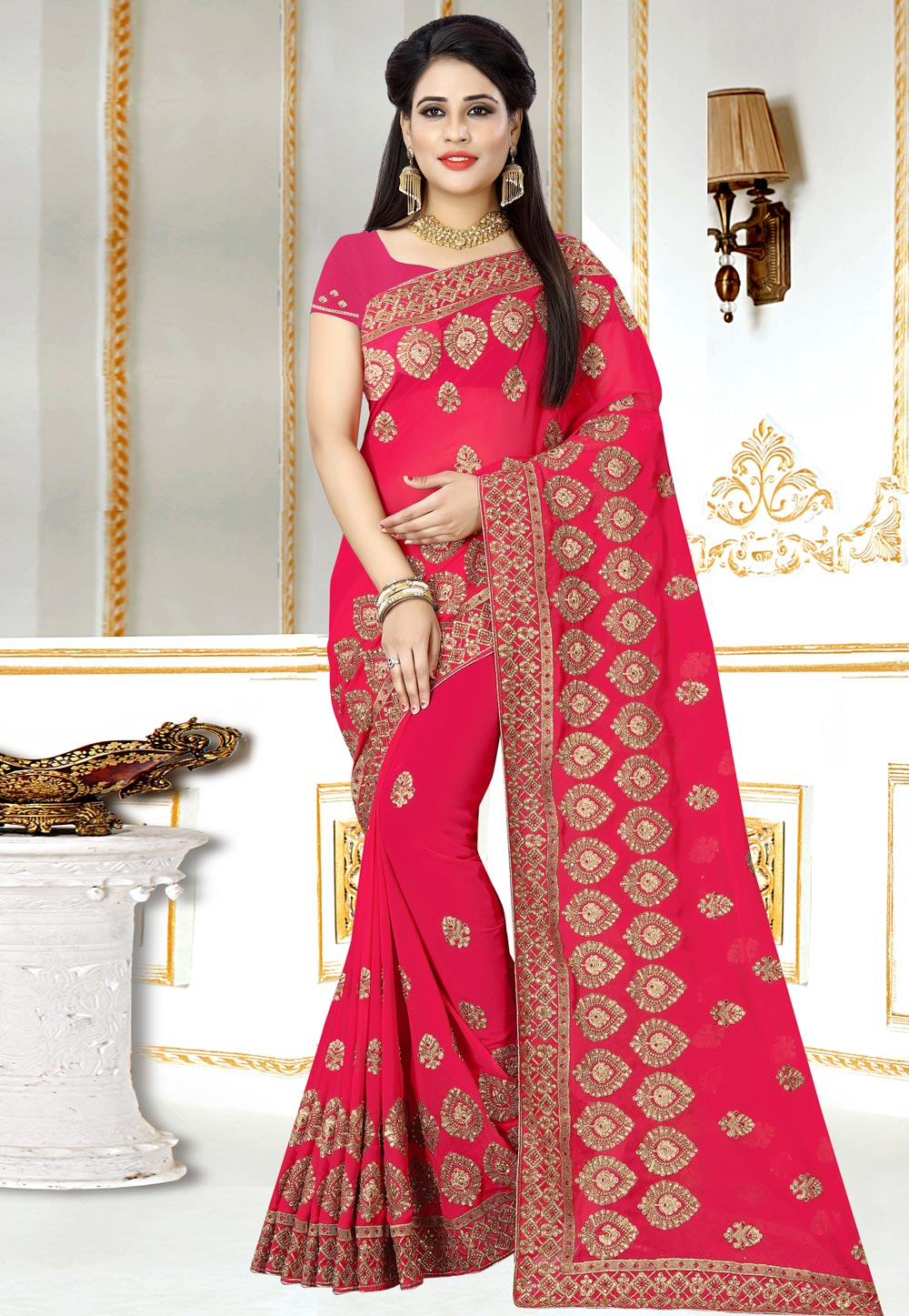 Pink Georgette Saree With Blouse 156975