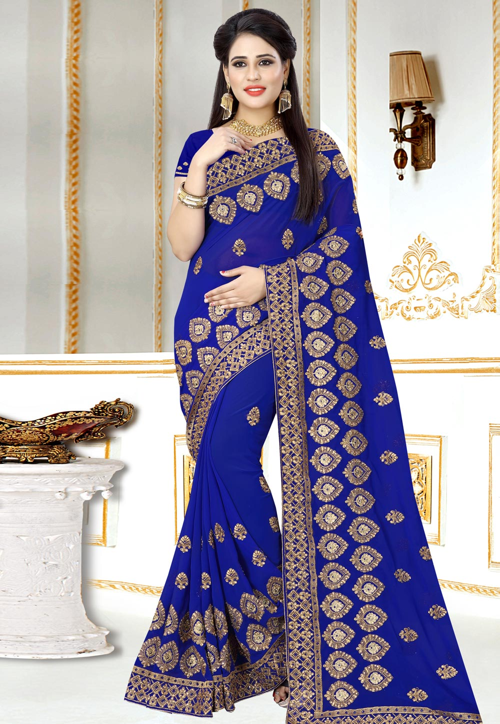 Blue Georgette Saree With Blouse 156977