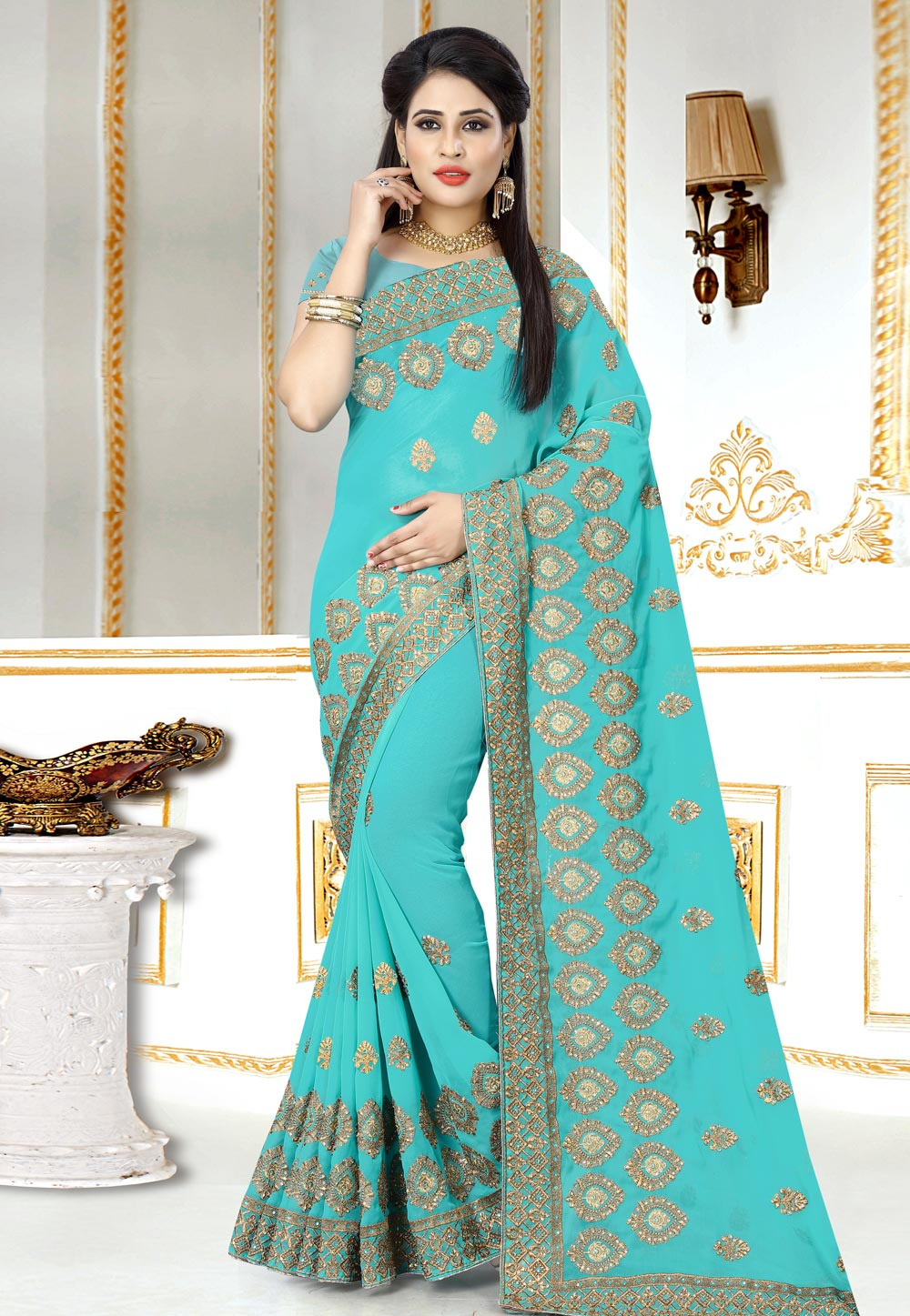 Aqua Georgette Festival Wear Saree 156978