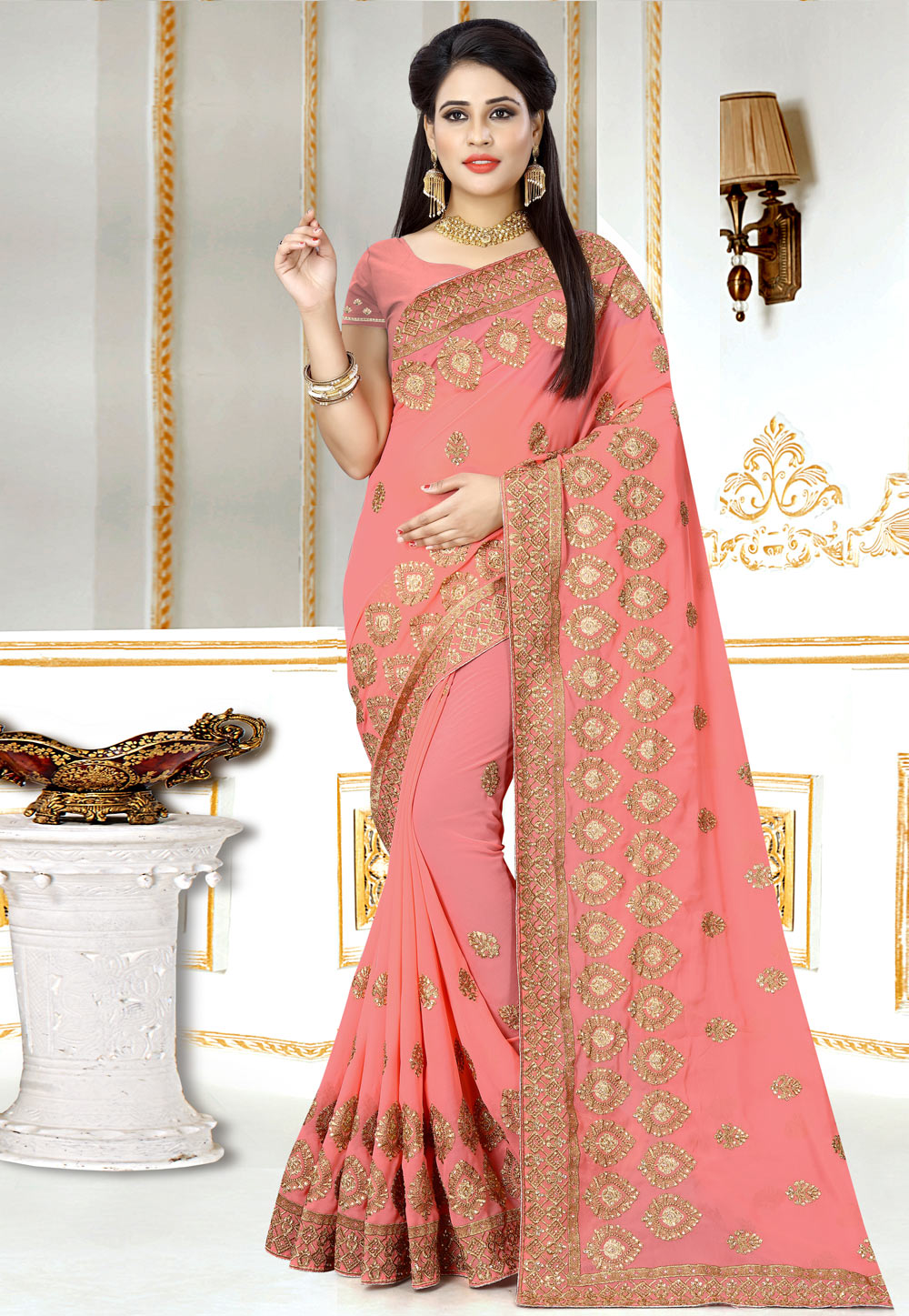 Light Pink Georgette Saree With Blouse 156979