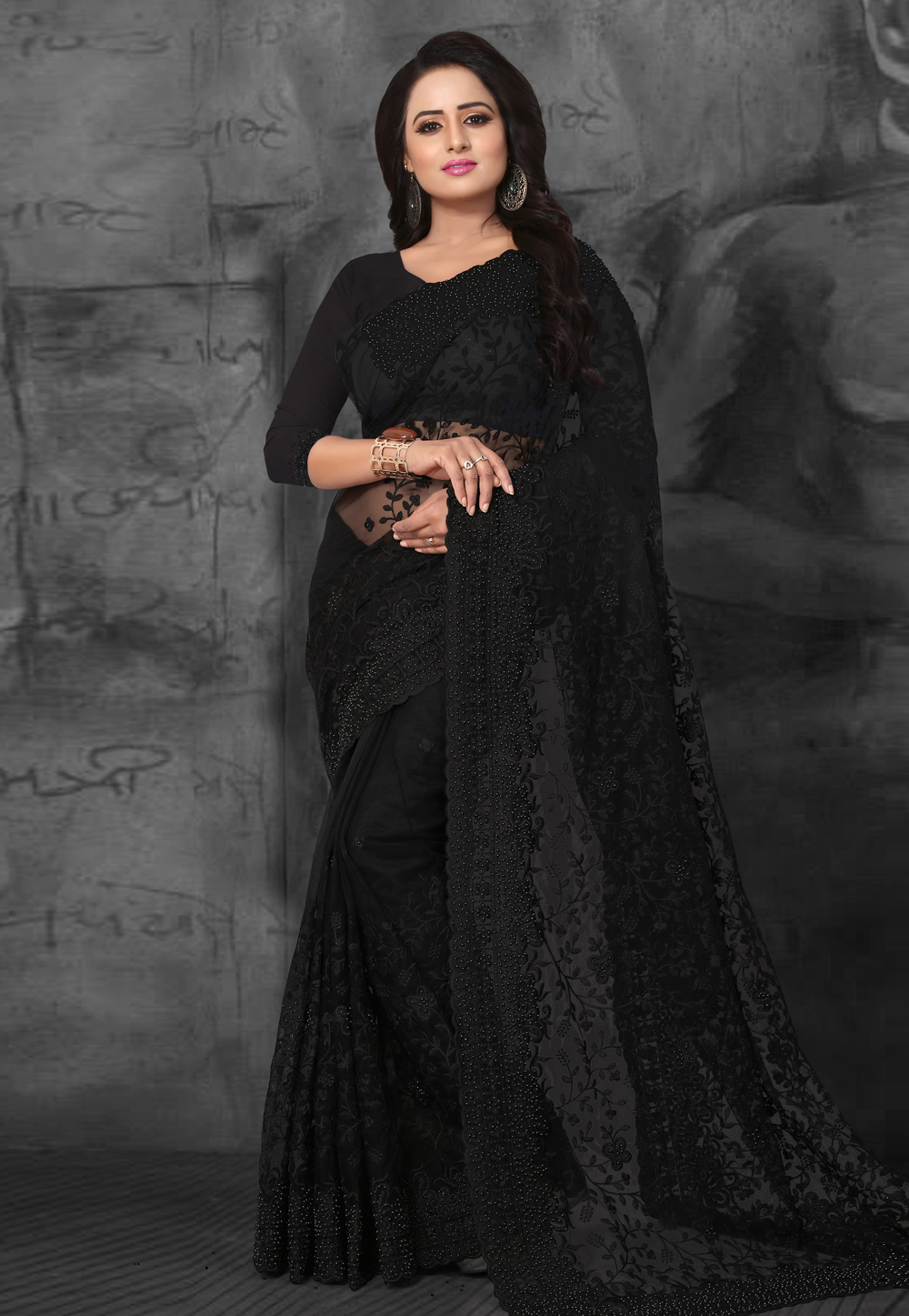 Black Net Embroidered Saree With Blouse 169472