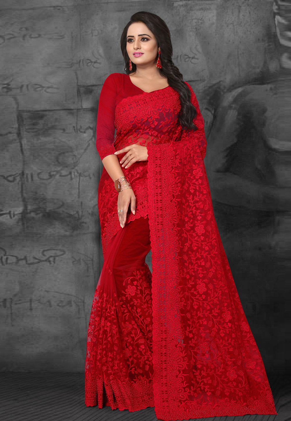 Red Net Embroidered Festival Wear Saree 169473