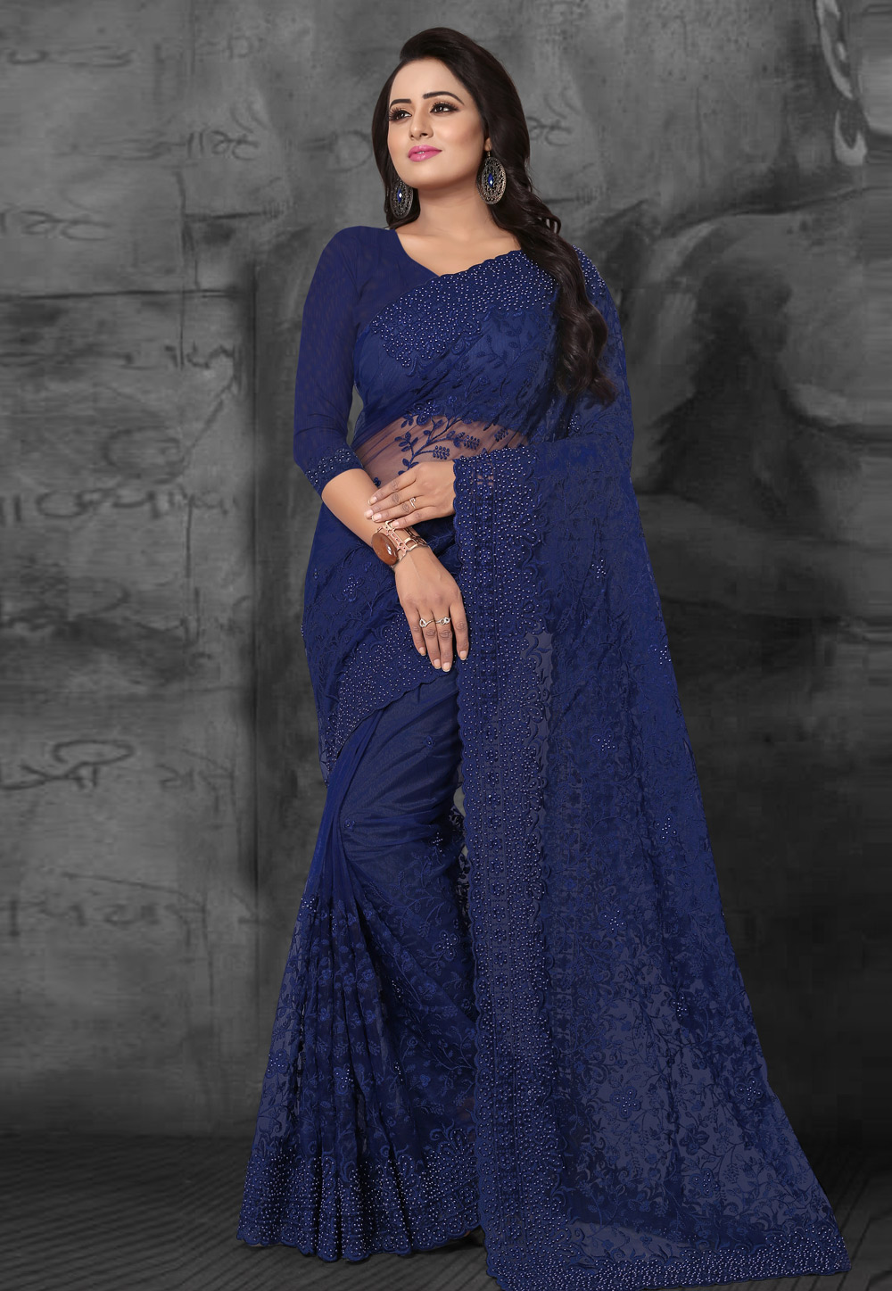 Blue Net Embroidered Festival Wear Saree 169475
