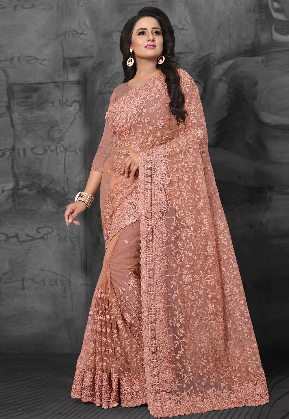 Pink Net Embroidered Saree With Blouse 169478