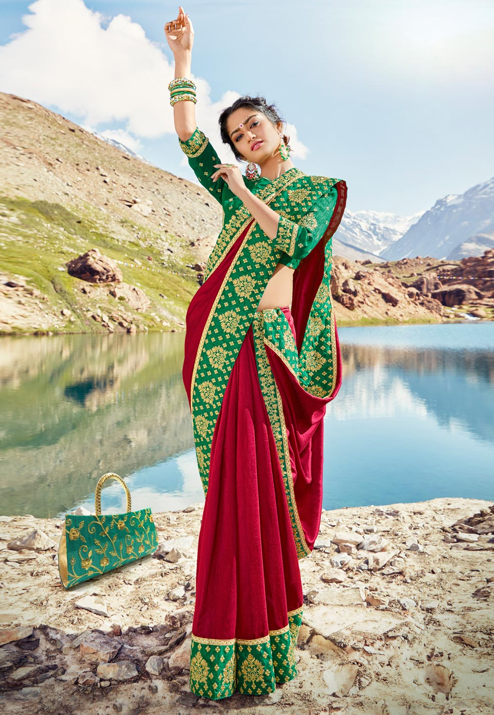 Magenta Georgette Saree With Blouse 205020