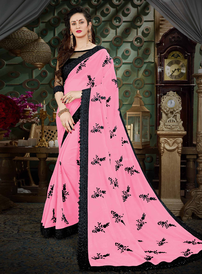 Light Pink Georgette Saree With Blouse 131160