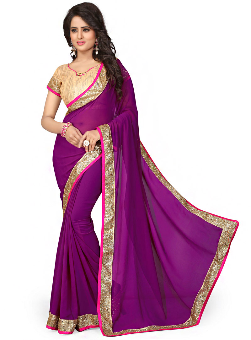 Purple Georgette Saree With Blouse 70728