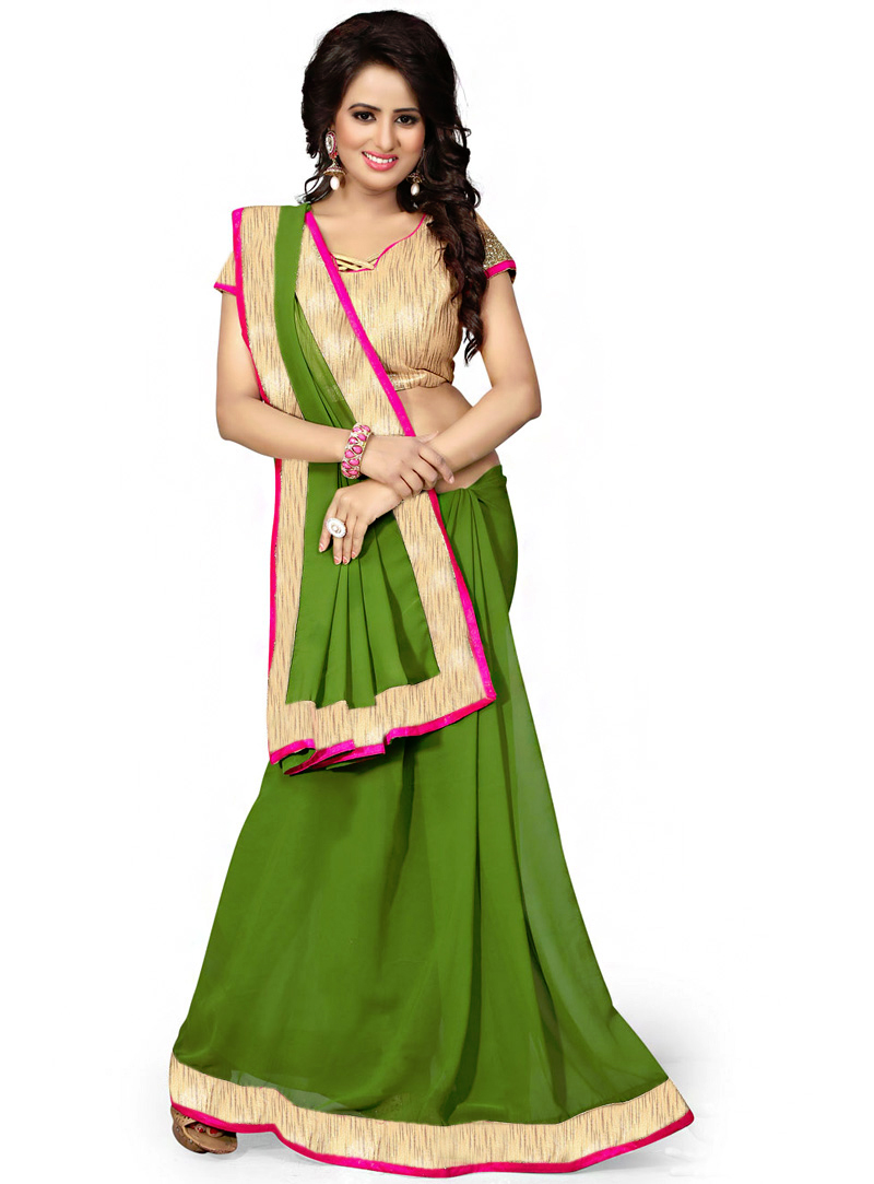 Green Georgette Saree With Blouse 70729