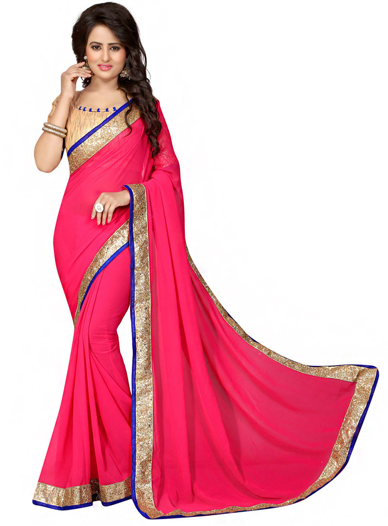 Pink Georgette Saree With Blouse 70732