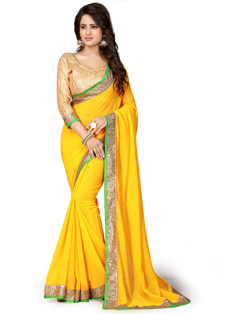 Yellow Georgette Saree With Blouse 70733