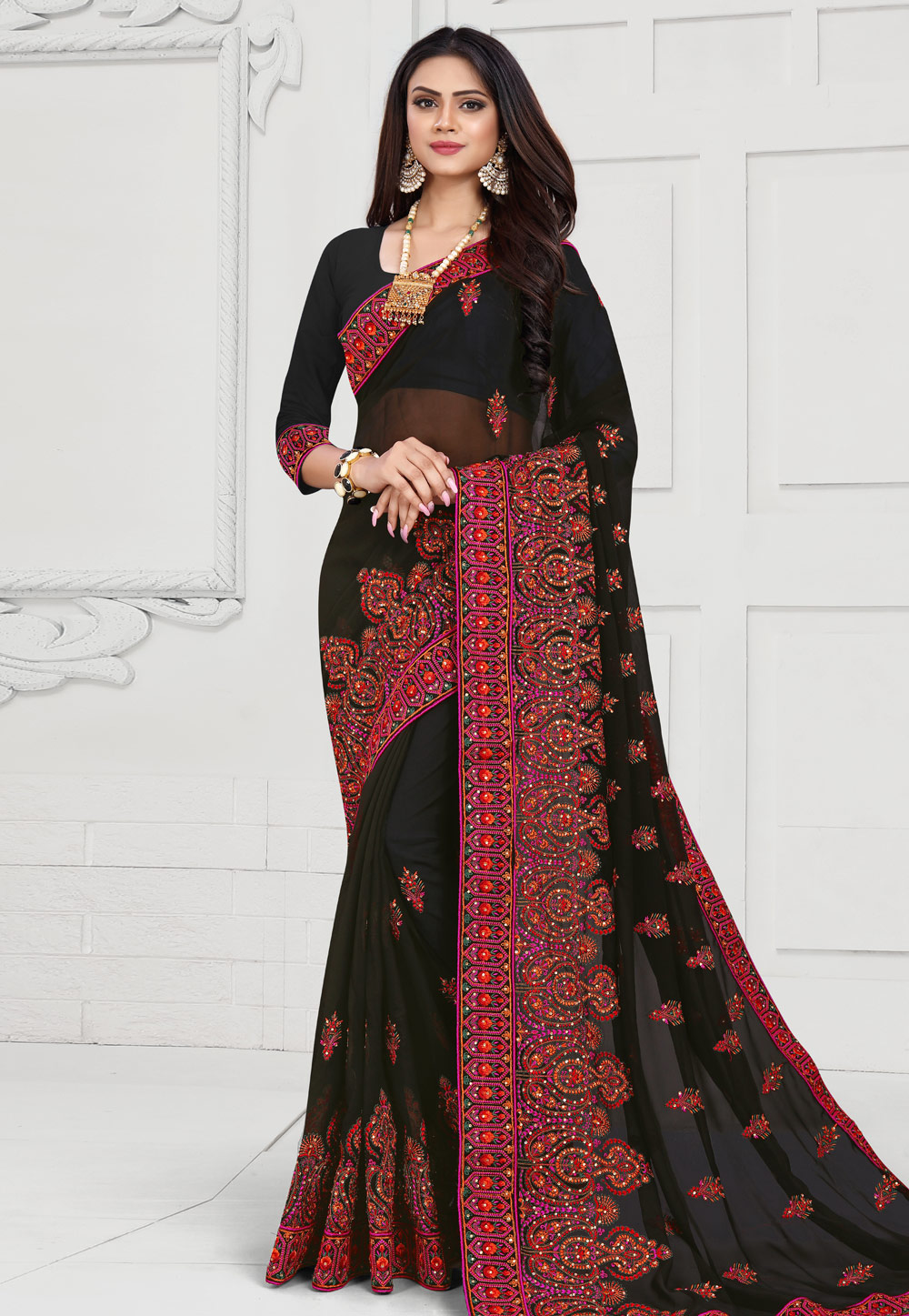 Black Georgette Saree With Blouse 175630