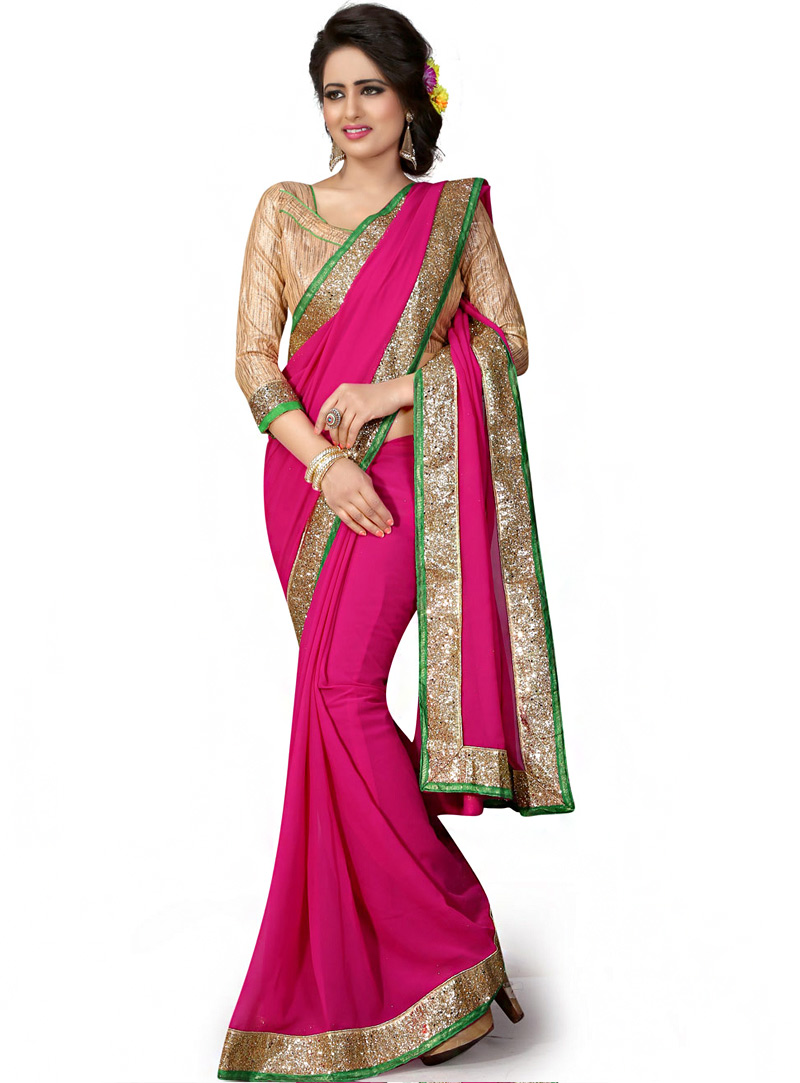 Magenta Georgette Saree With Blouse 70737