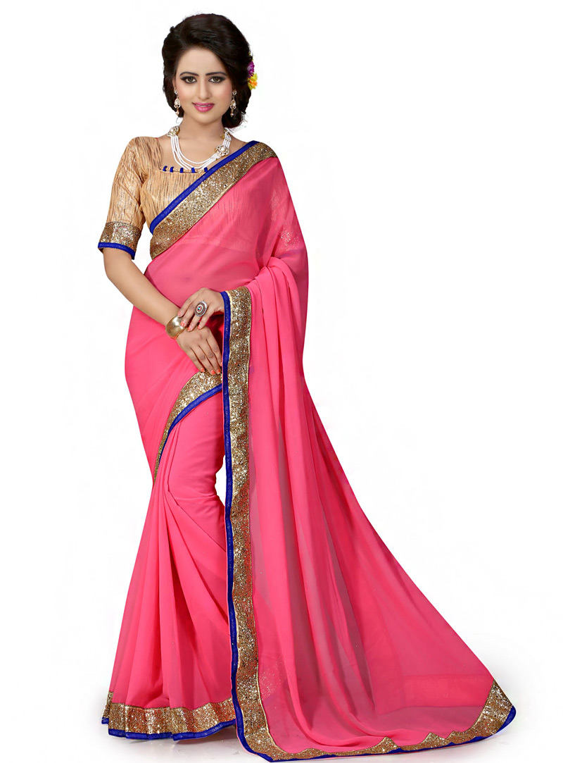 Pink Georgette Saree With Blouse 70740