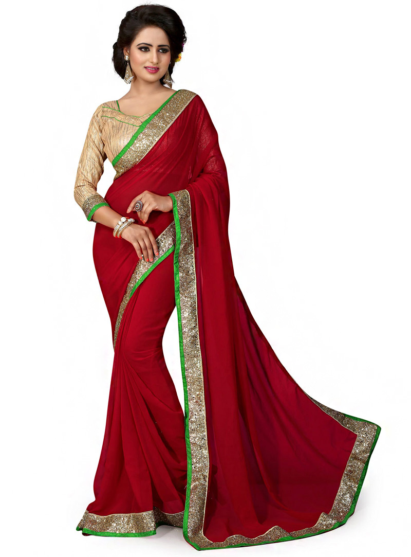 Red Georgette Saree With Blouse 70742