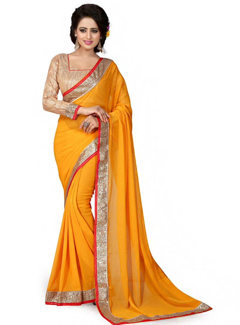 Mustard Georgette Saree With Blouse 70743
