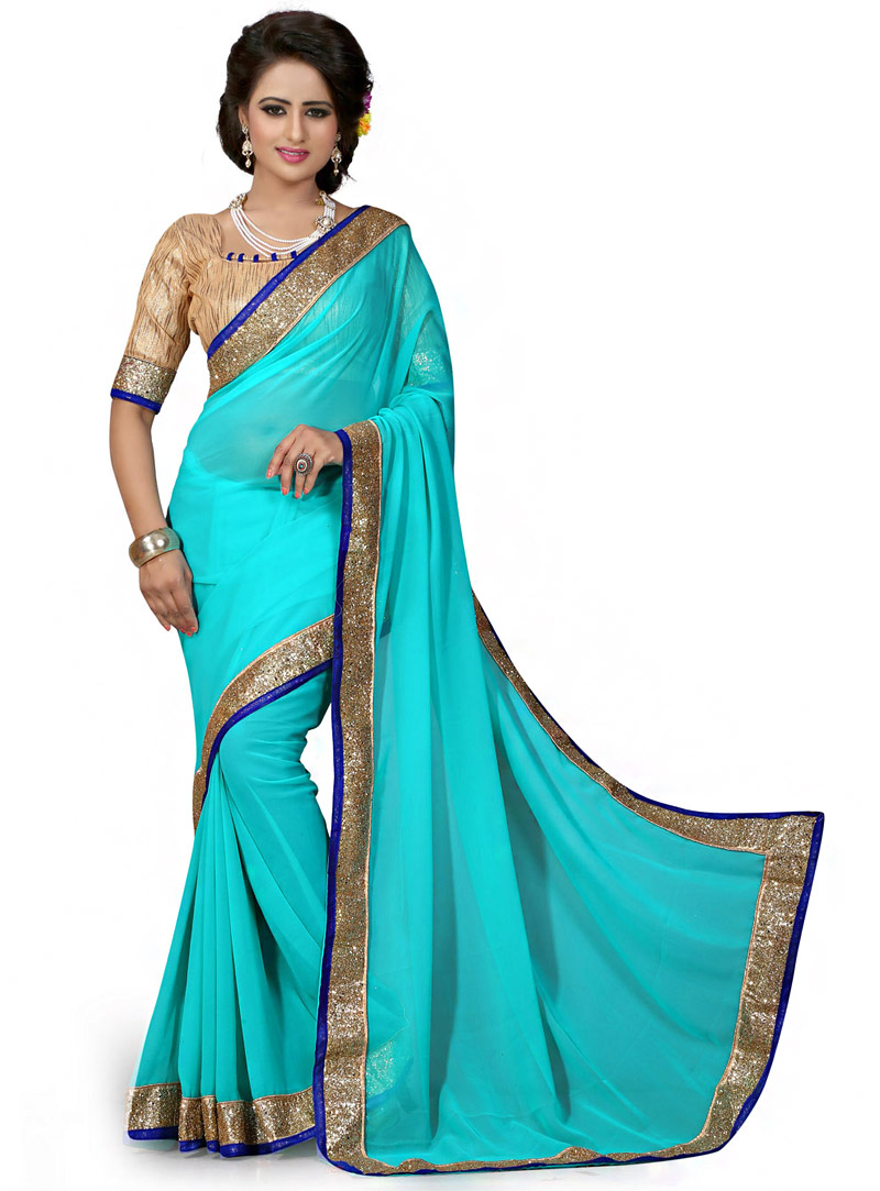 Aqua Georgette Saree With Blouse 70744