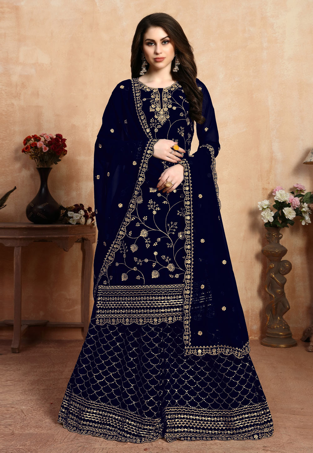 Blue Faux Georgette Embroidered Palazzo Suit 200039