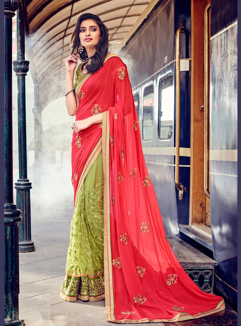 Pink Georgette Half and Half Saree With Blouse 69048