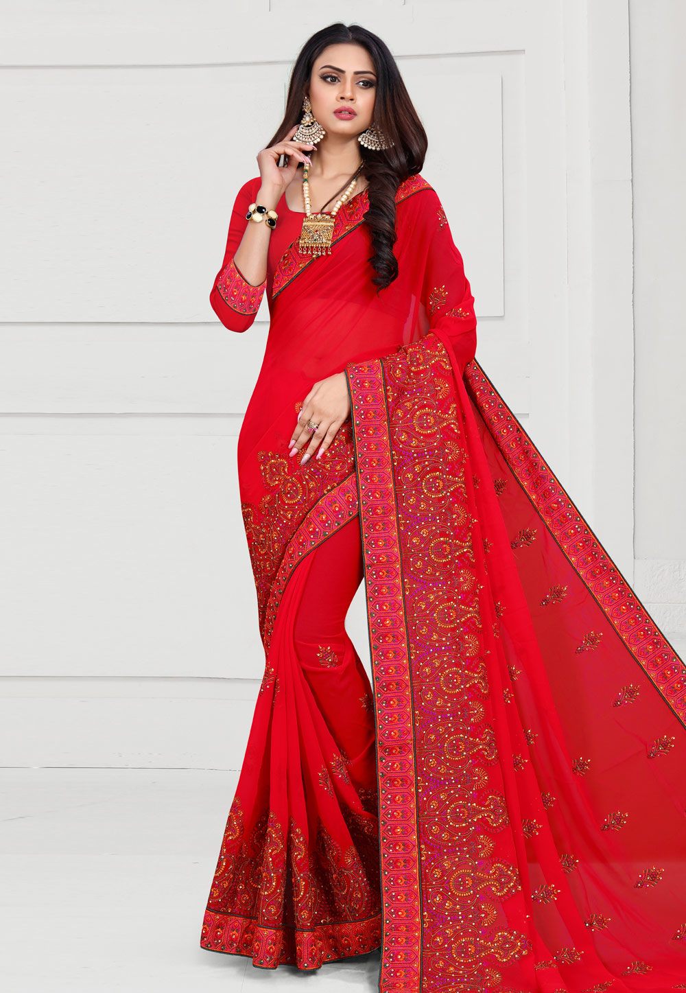 Red Georgette Saree With Blouse 175634