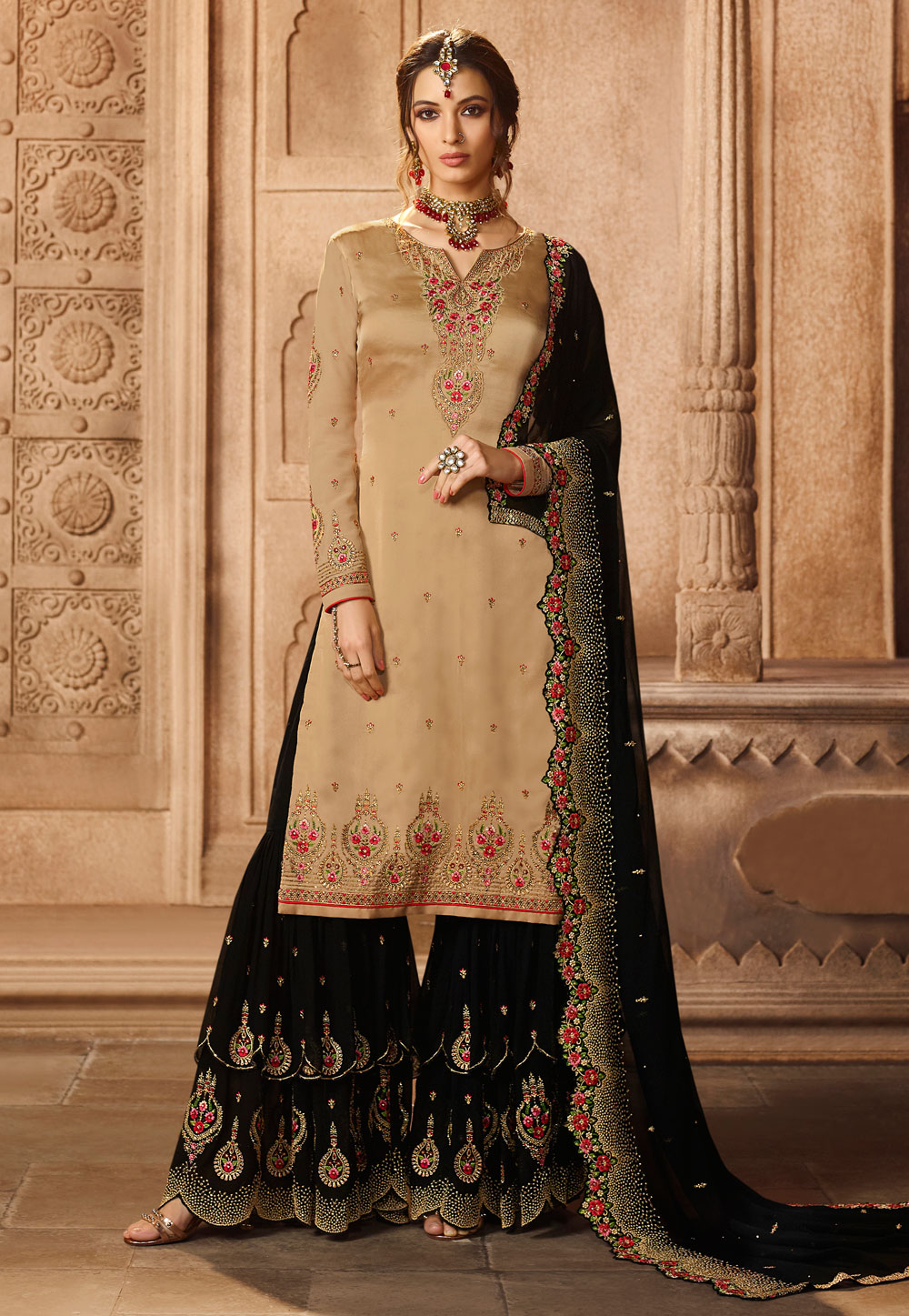 Beige Satin Embroidered Sharara Suit 164801