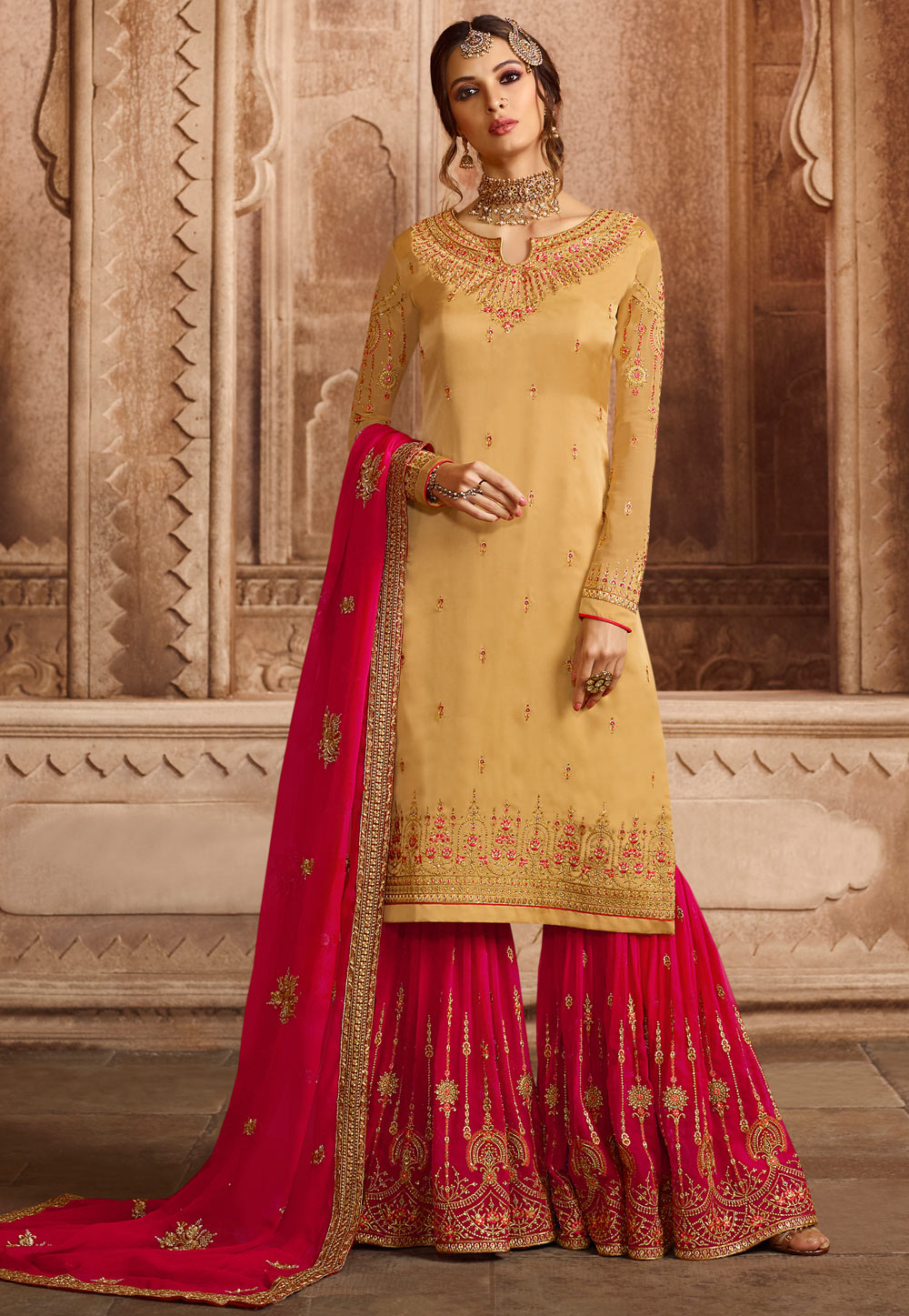 Yellow Satin Embroidered Sharara Suit 164808