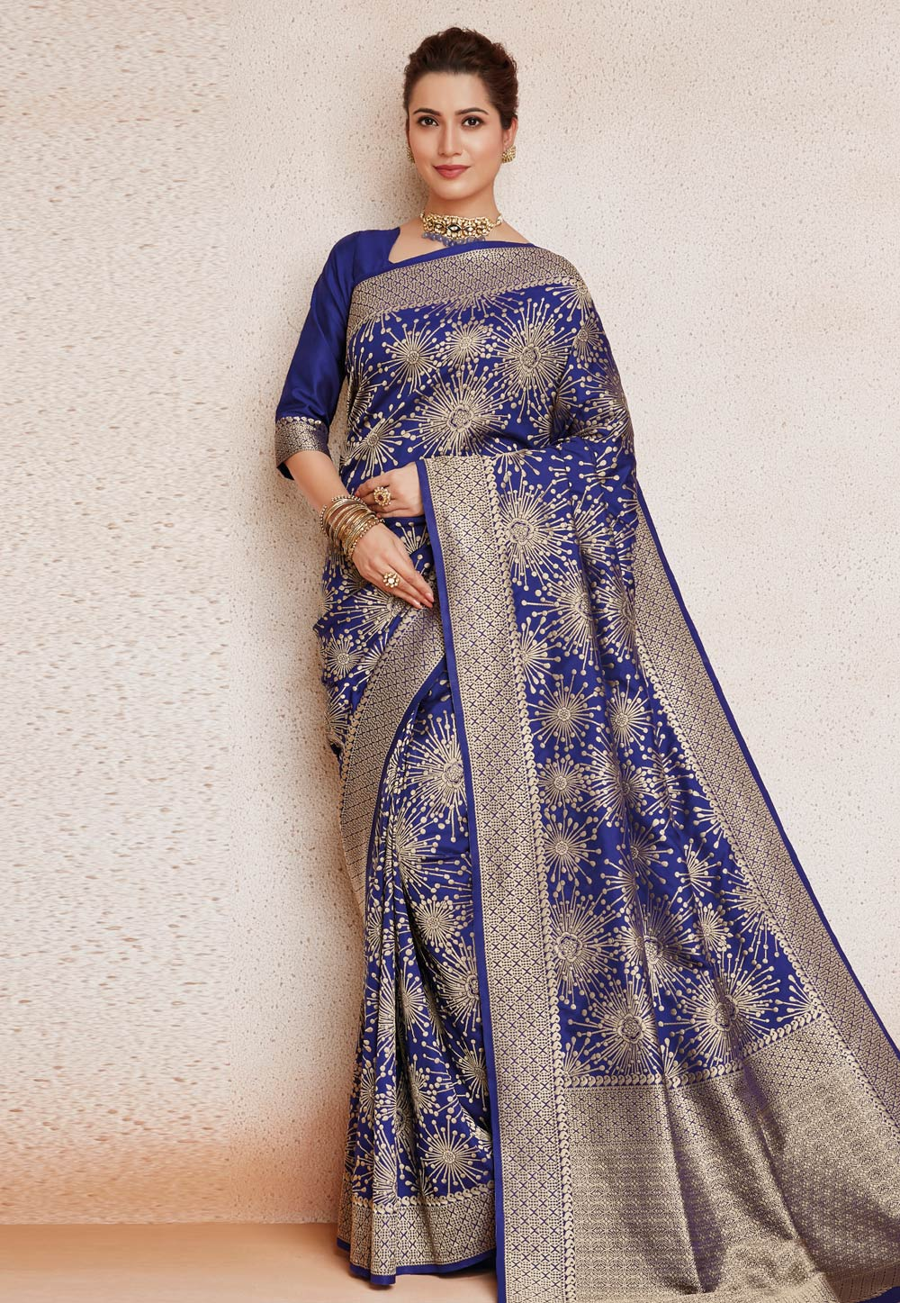 Navy Blue Silk Saree With Blouse 187270