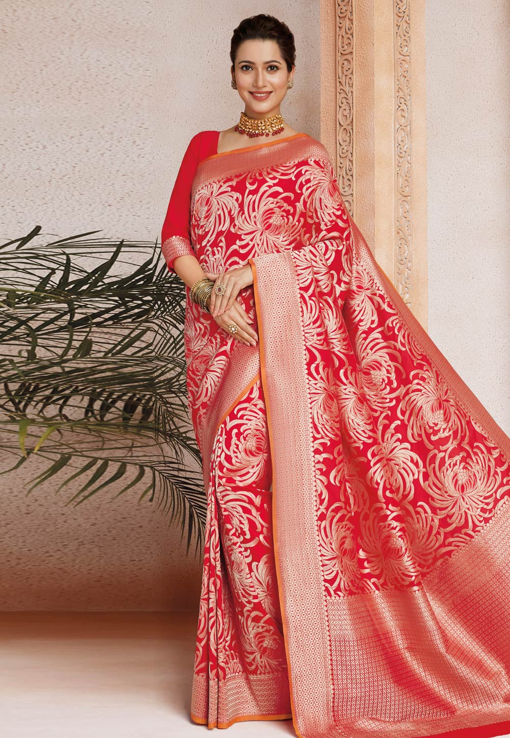 Red Silk Festival Wear Saree 187271