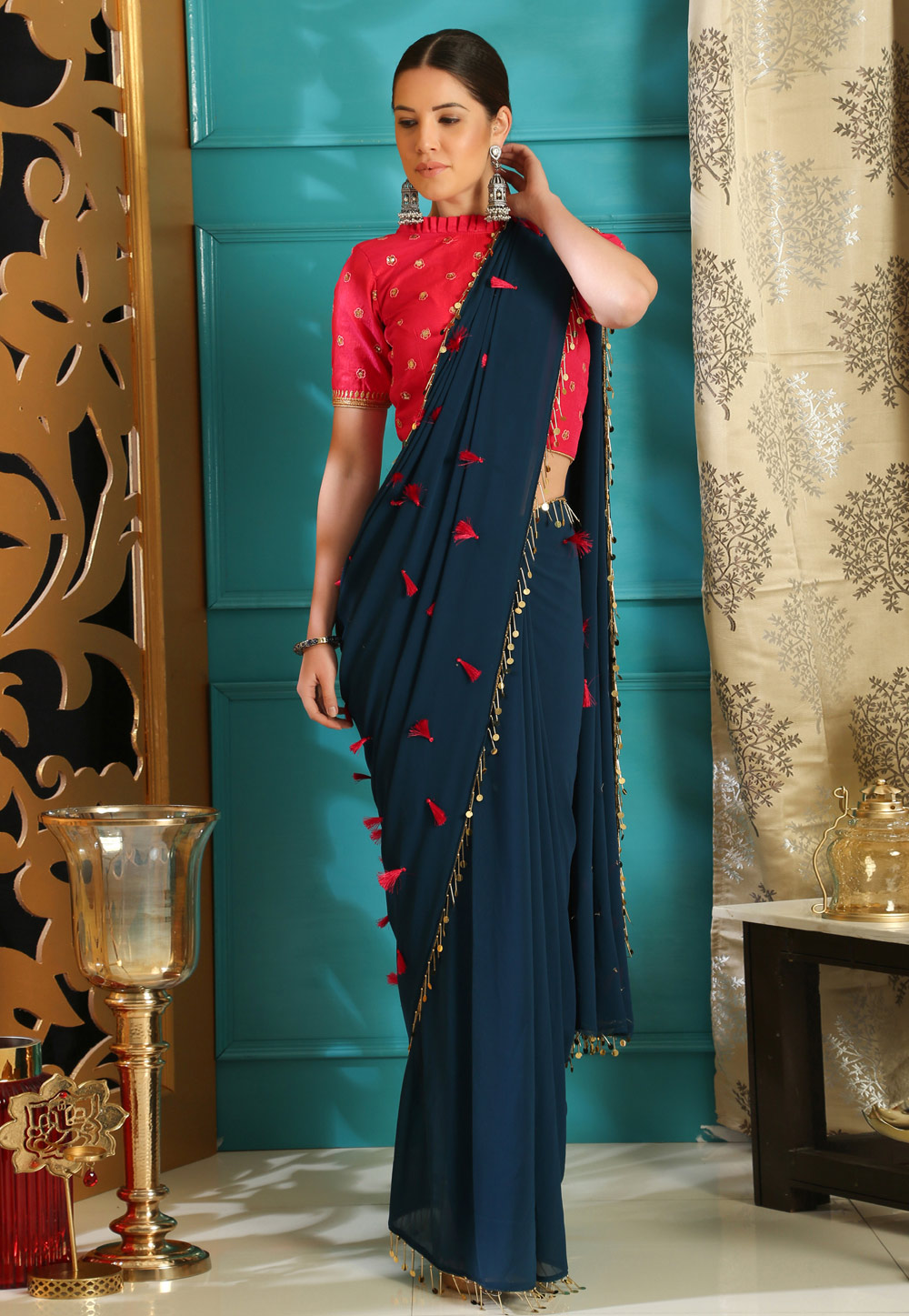 Blue Georgette Saree With Blouse 160073