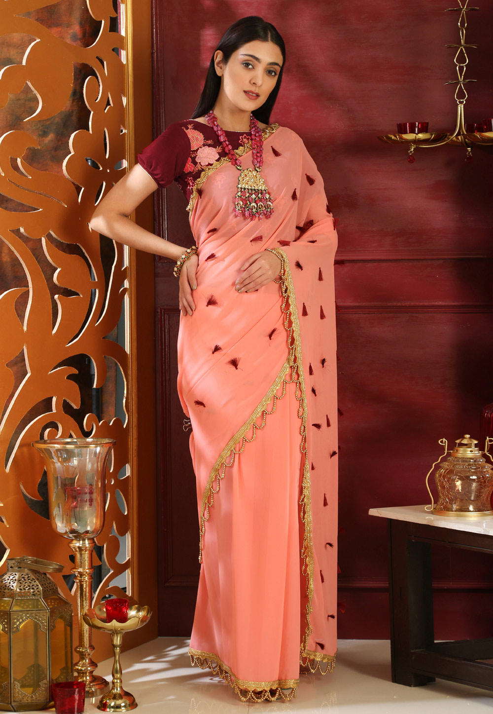 Peach Georgette Saree With Blouse 160075