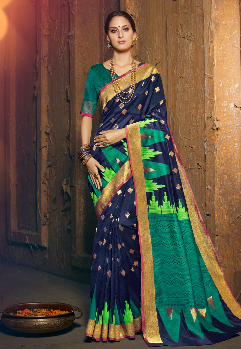 Navy Blue Silk Festival Wear Saree 195226