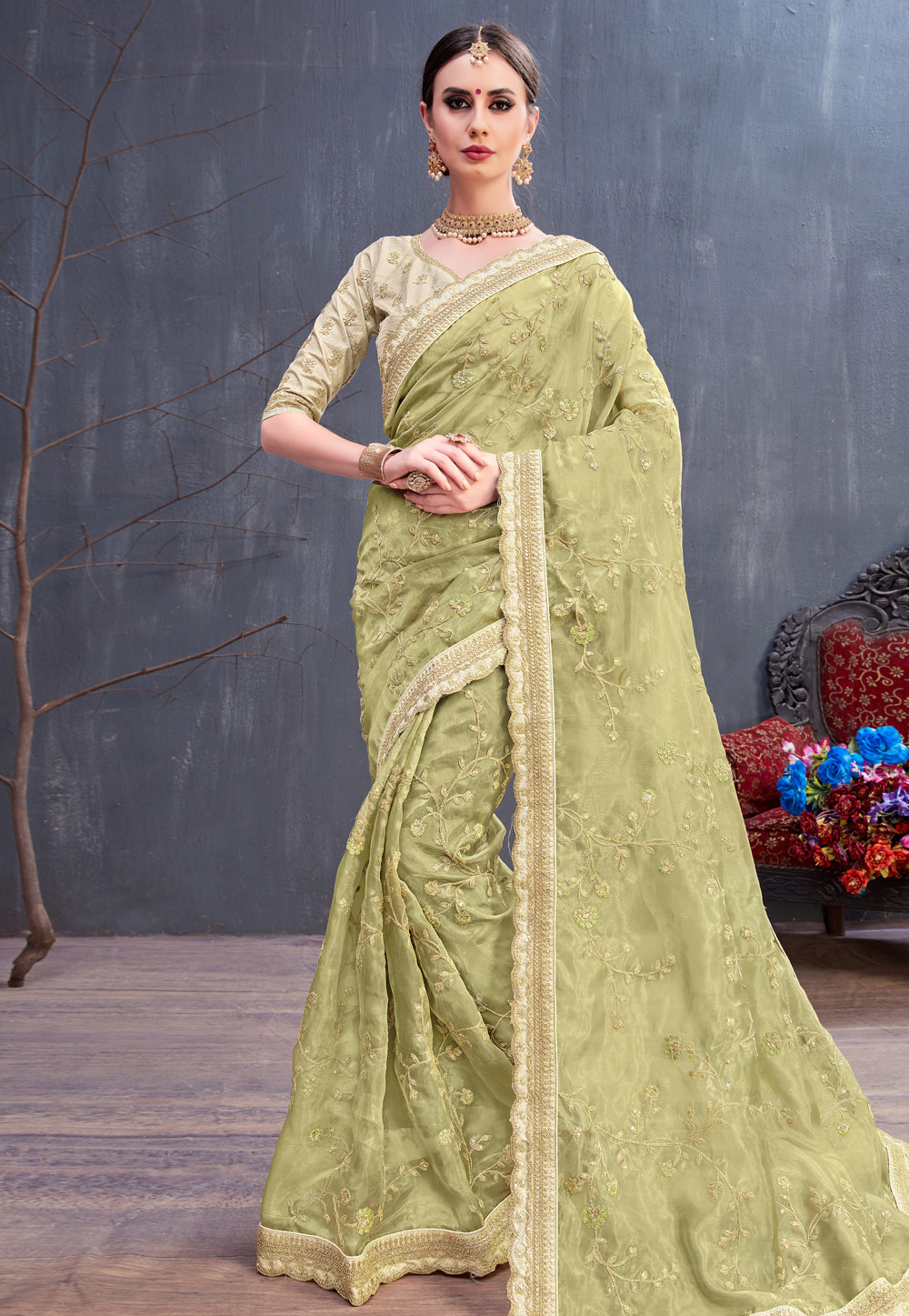 Light Green Organza Embroidered Saree With Blouse 166582