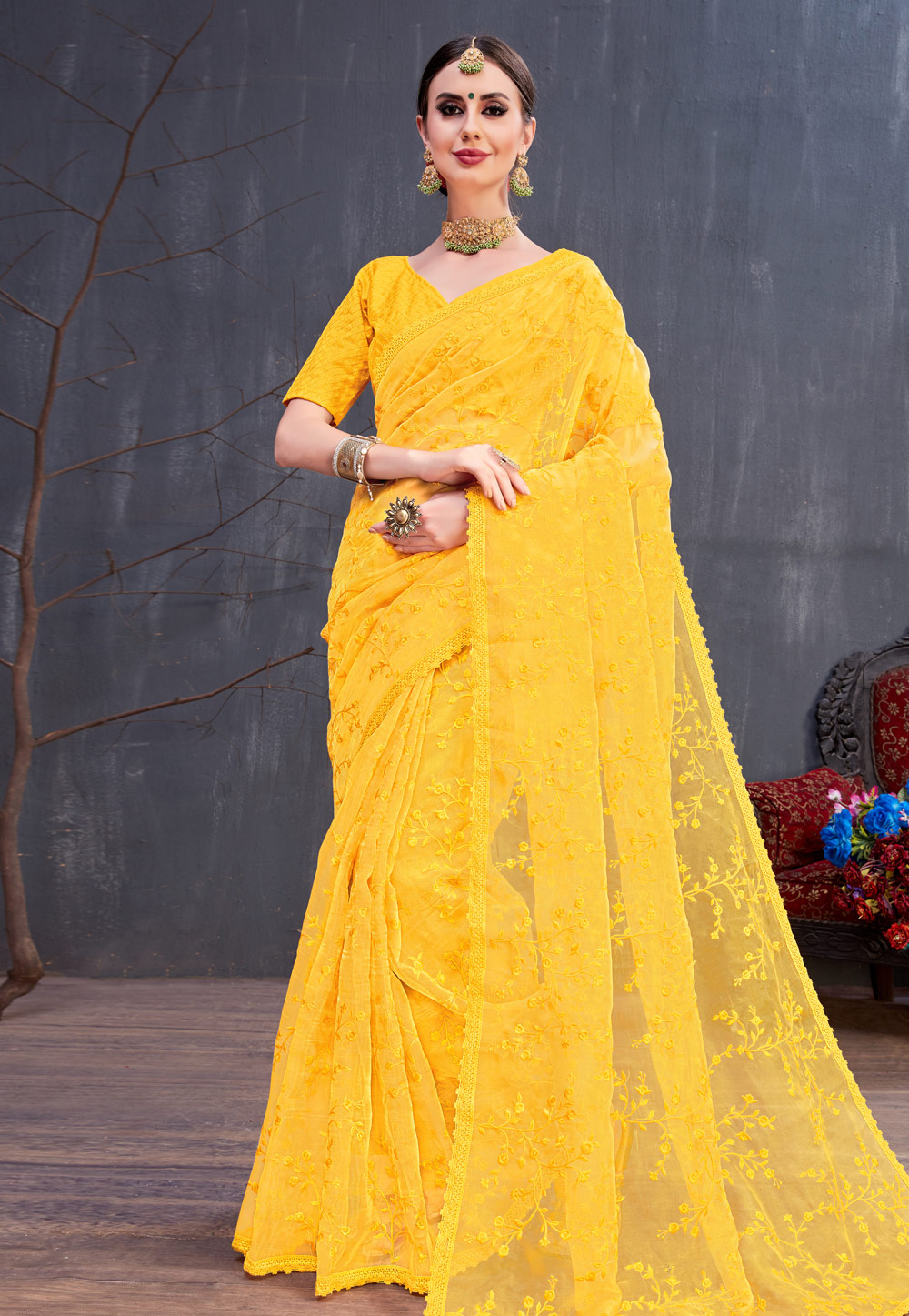 Yellow Organza Embroidered Festival Wear Saree 166583