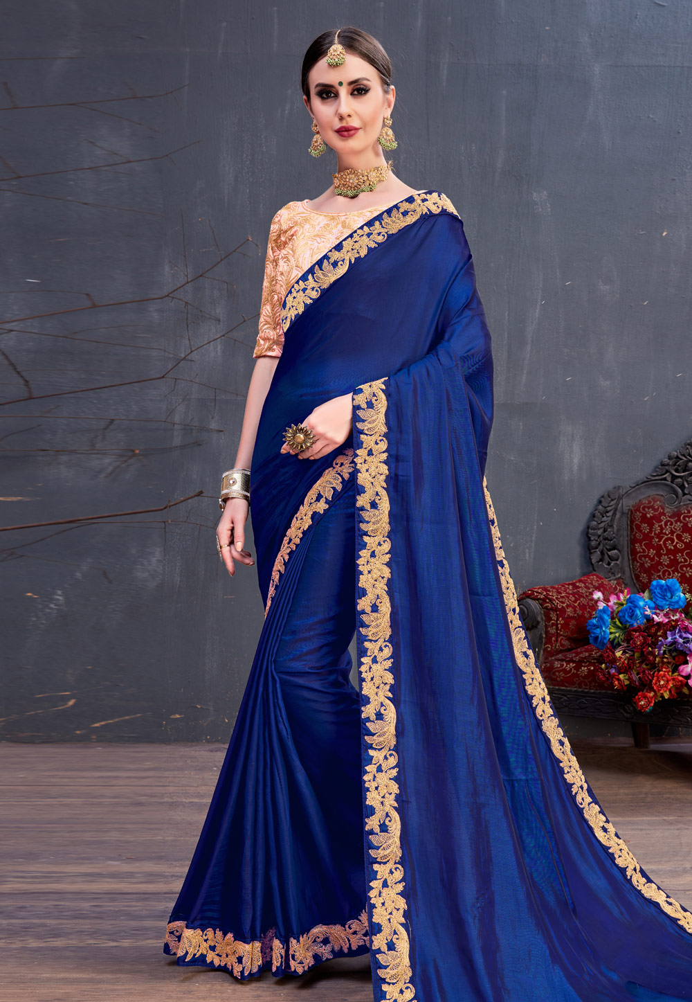 Blue Silk Embroidered Saree With Blouse 166755