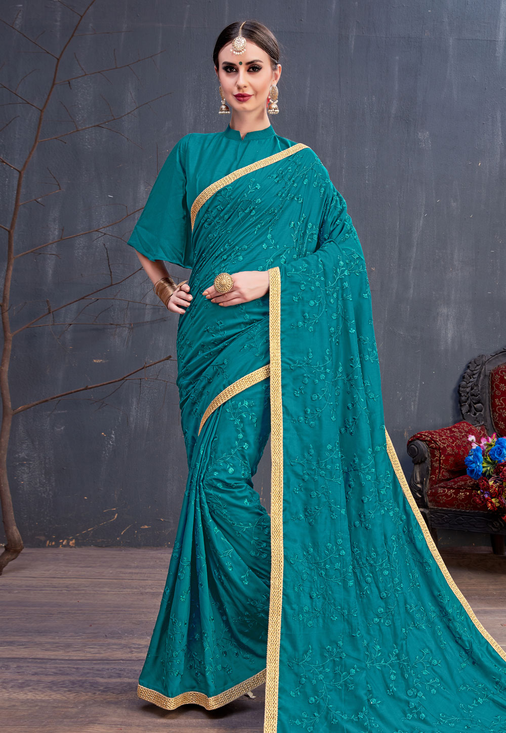 Turquoise Blue Cotton Embroidered Festival Wear Saree 166758