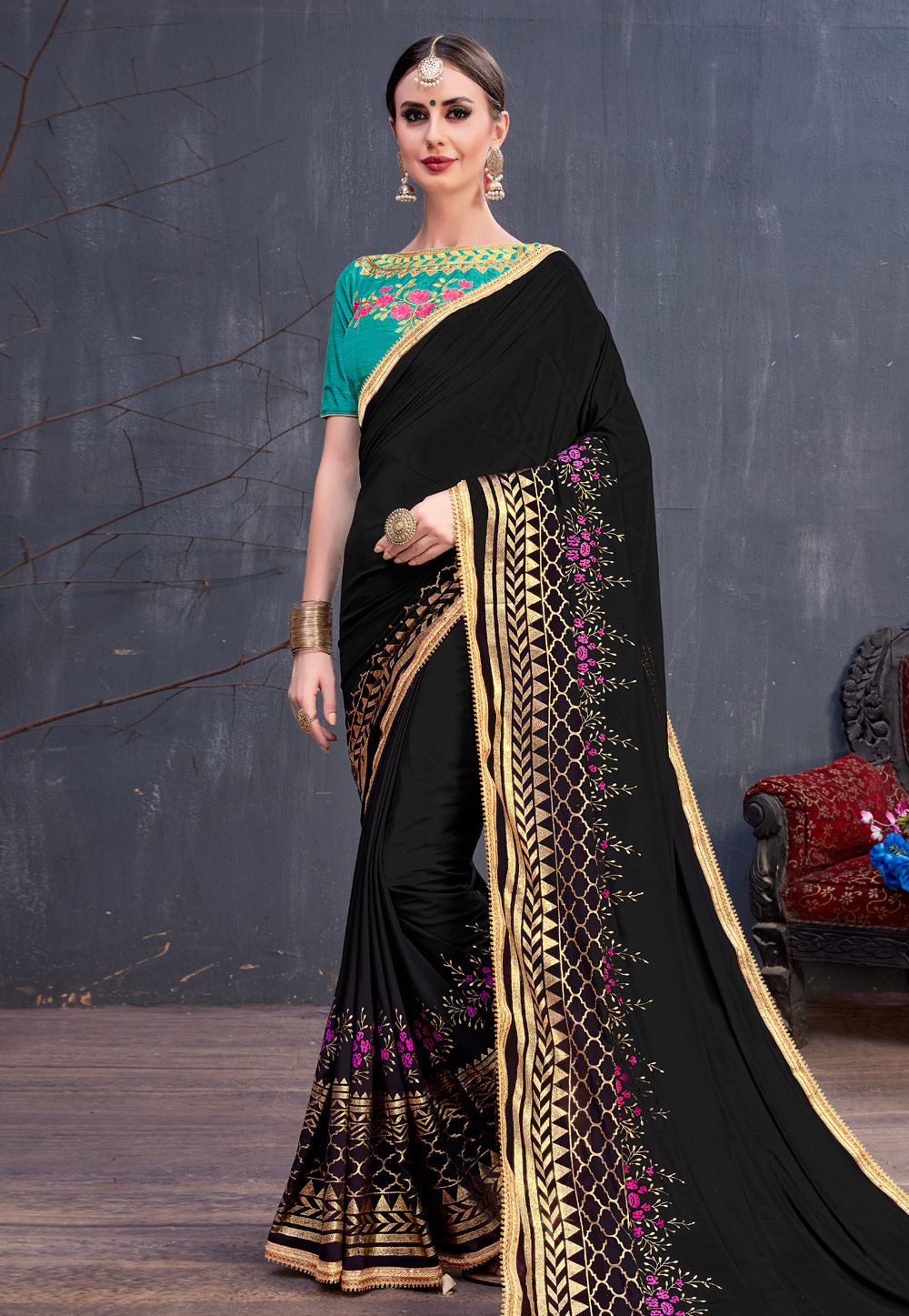 Black Georgette Embroidered Saree With Blouse 166759