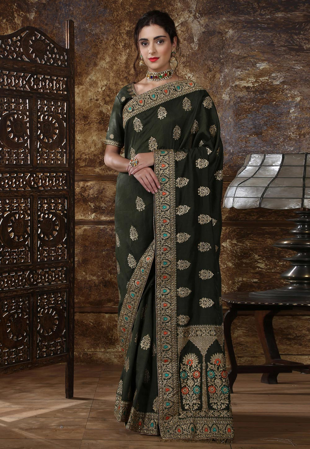Green Silk Saree With Blouse 184642