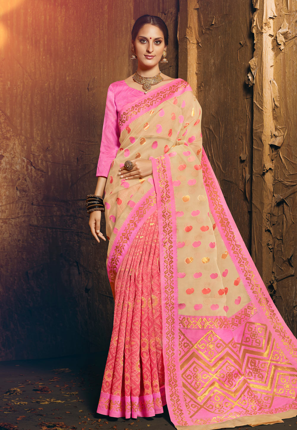 Pink Silk Saree With Blouse 195231