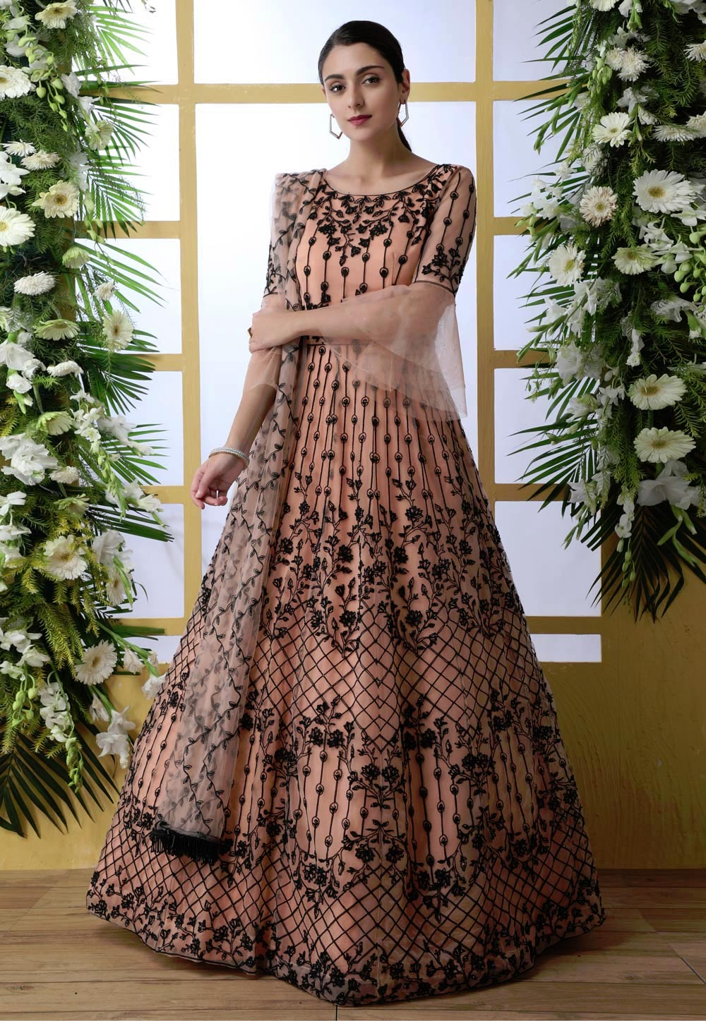Peach Net Embroidered Long Anarkali Suit 194871