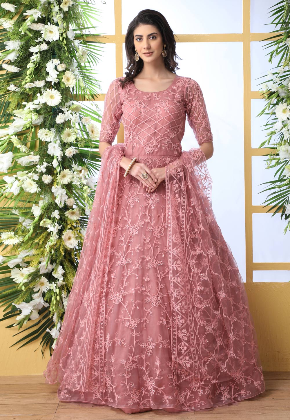 Pink Net Embroidered Abaya Style Anarkali Suit 194872