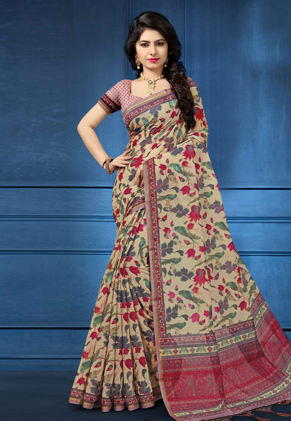 Cream Silk Festival Wear Saree 162597