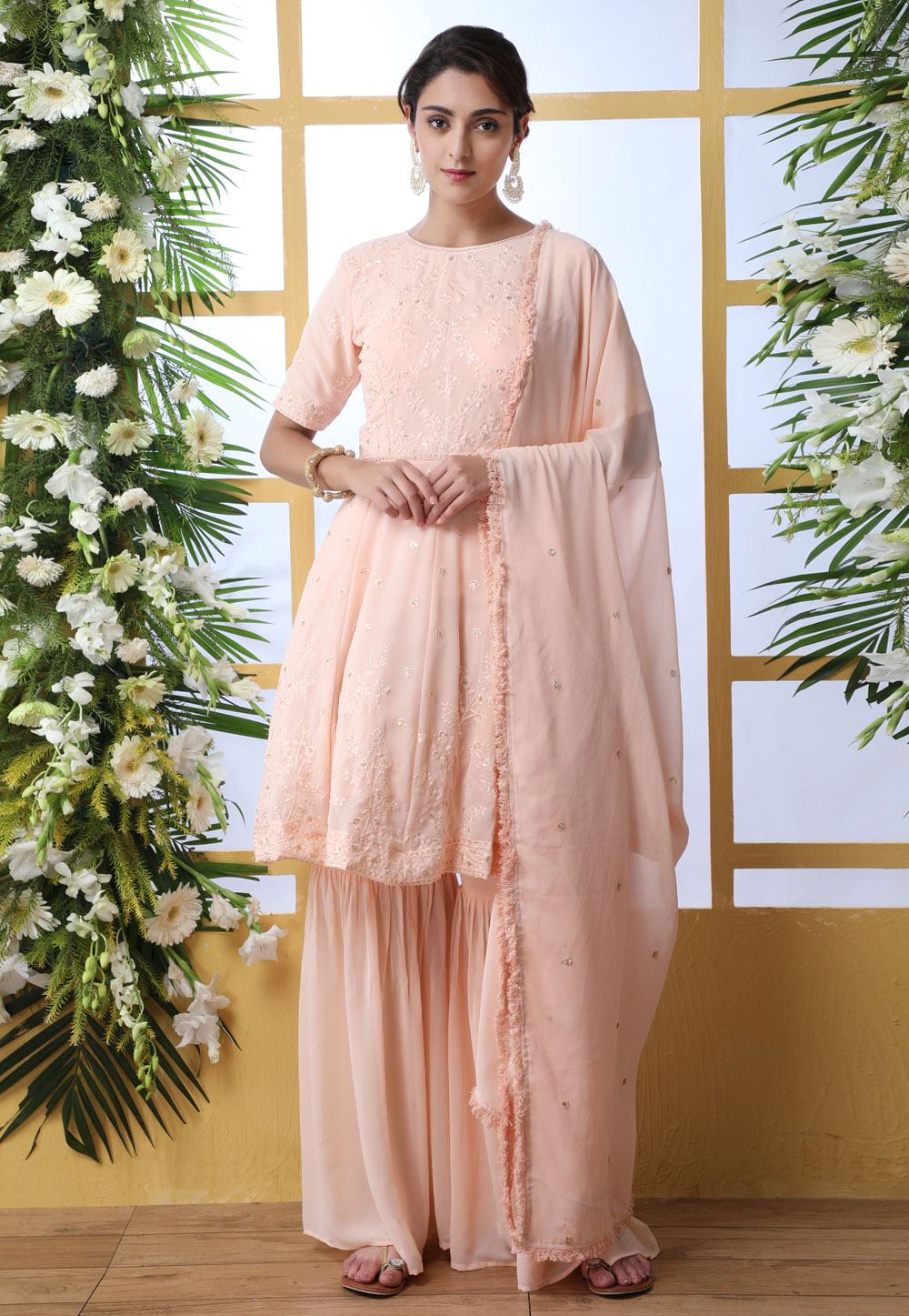 Peach Georgette Sharara Style Suit 202561