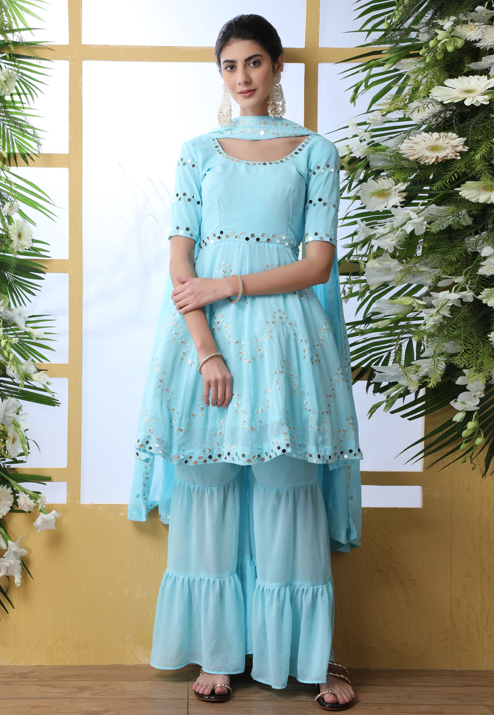 Sky Blue Georgette Sharara Style Suit 202564