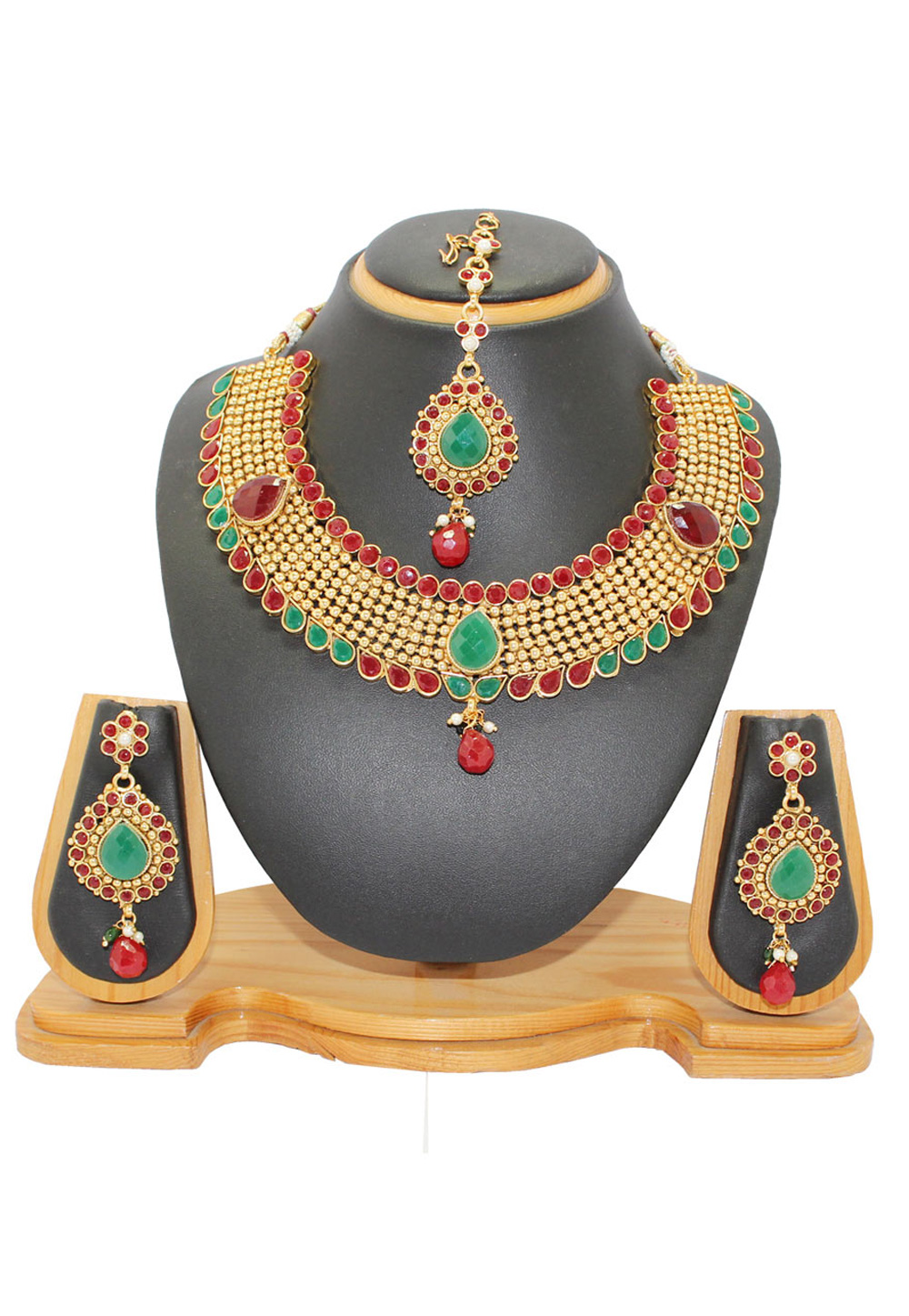 Maroon Copper Austrian Diamonds Necklace With Earrings and Maang Tikka 64329