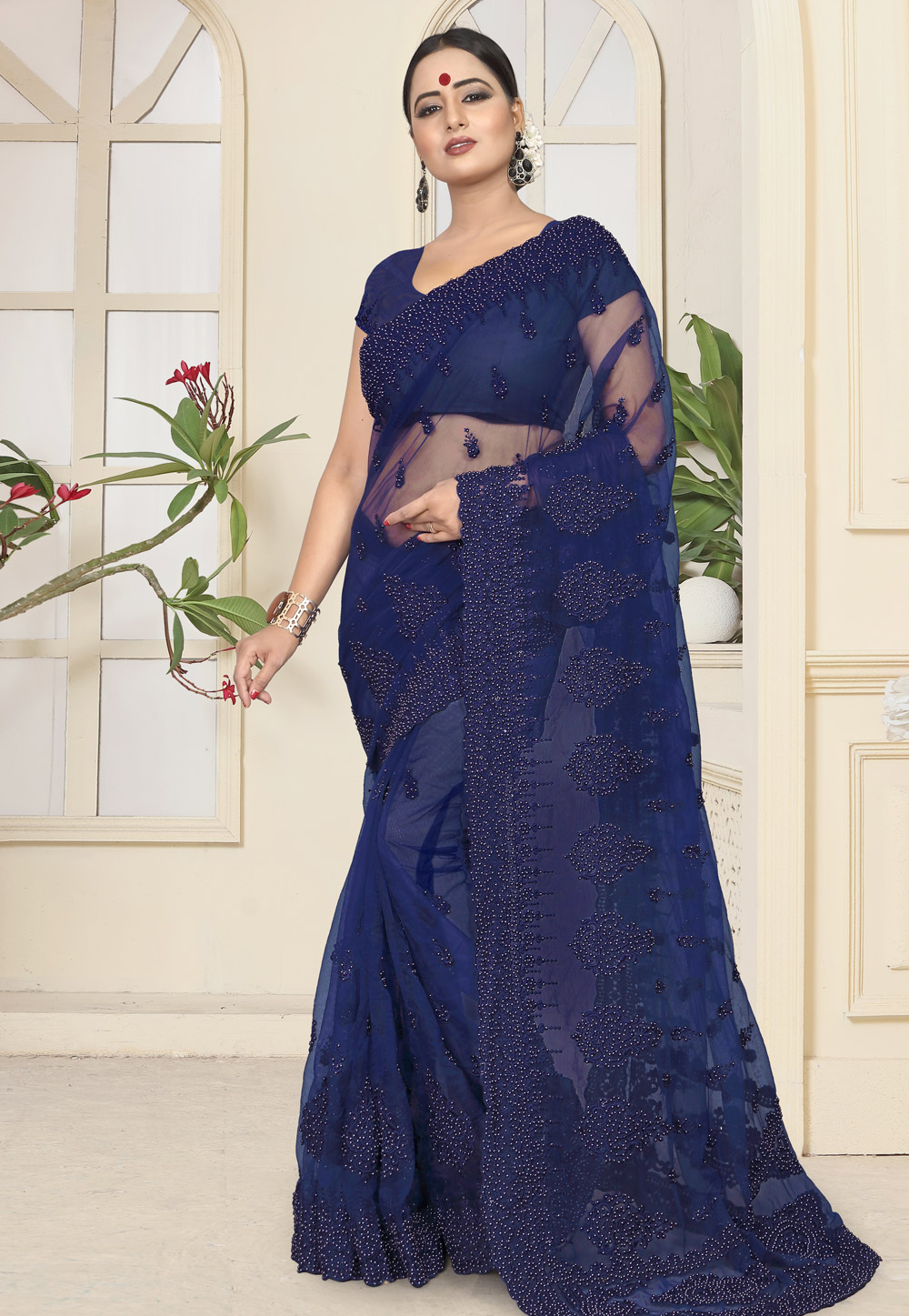 Navy Blue Net Saree With Blouse 184371
