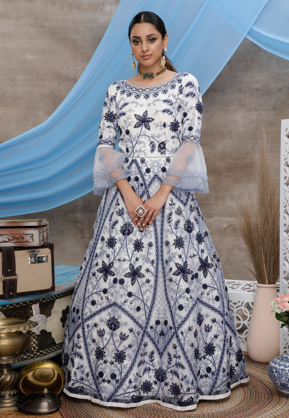 Off White Net Embroidered Gown 206997