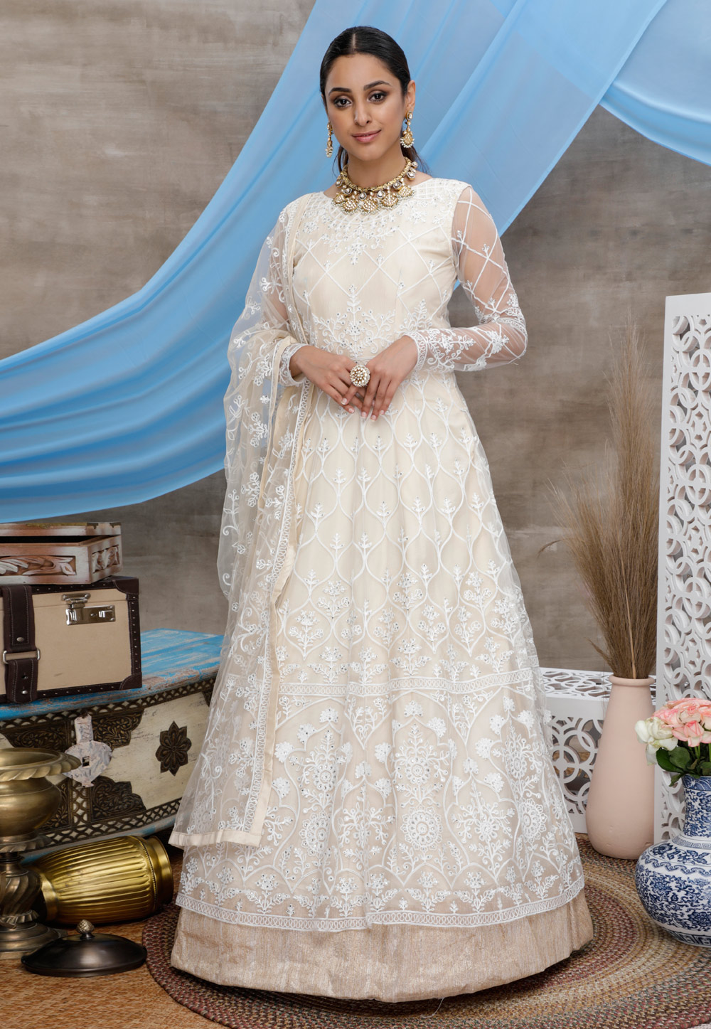 Off White Net Party Wear Gown 206999
