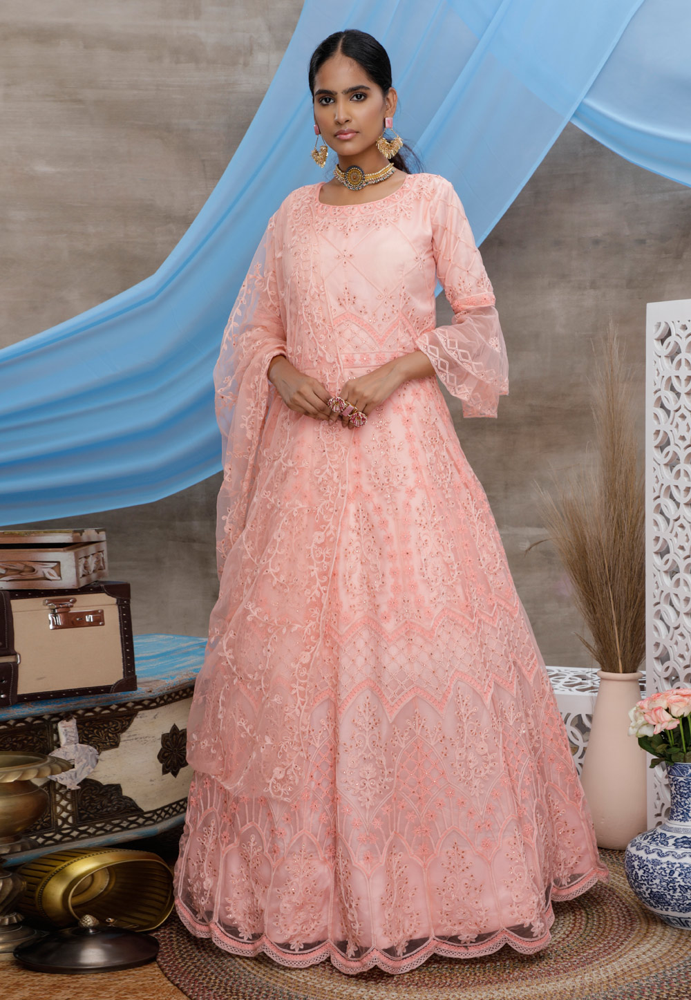 Peach Net Embroidered Party Wear Gown 207000