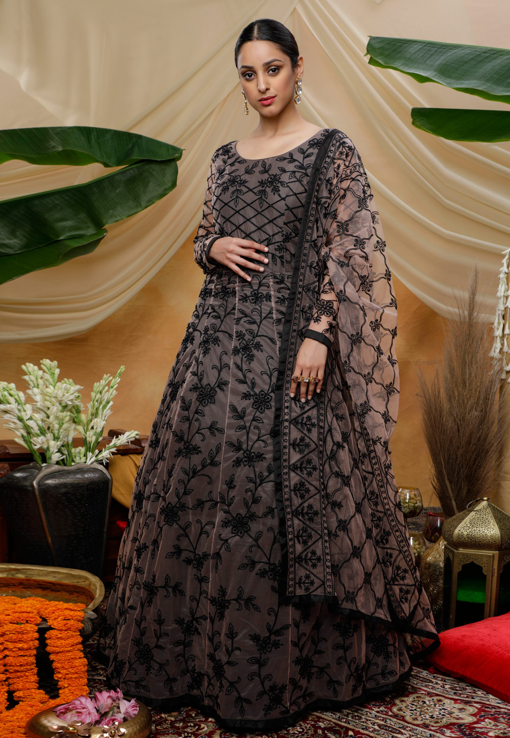 Brown Net Embroidered Gown 207002