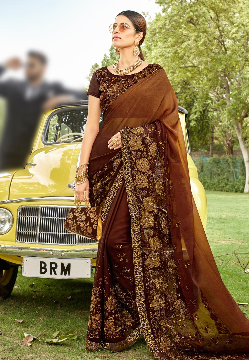 Brown Georgette Saree With Blouse 205199